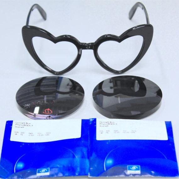 Montage à la vue : verres 1.6 -5.50(+3.25)80 et -6(+2)75 sur cette monture Yves Saint Laurent.