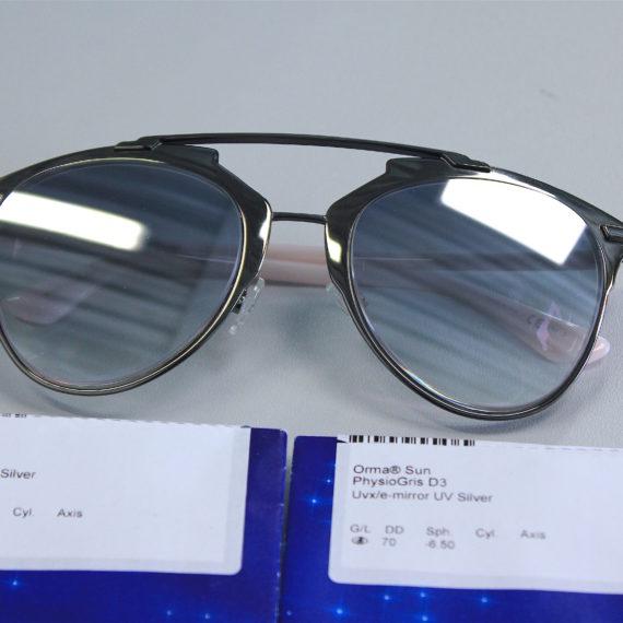 Montage nylor avec verres cr 39 -6.50 sur lunettes DIOR solaires sans ouverture de cercle.