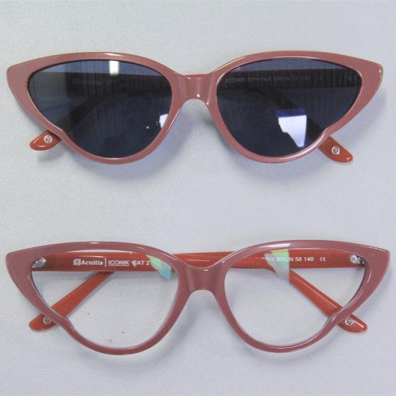 Montage de verres optiques avec découpe spéciale sur lunettes acétate originales.